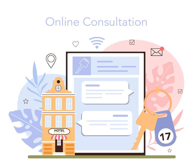 호텔 온라인 서비스 또는 플랫폼 예약 아파트 예약