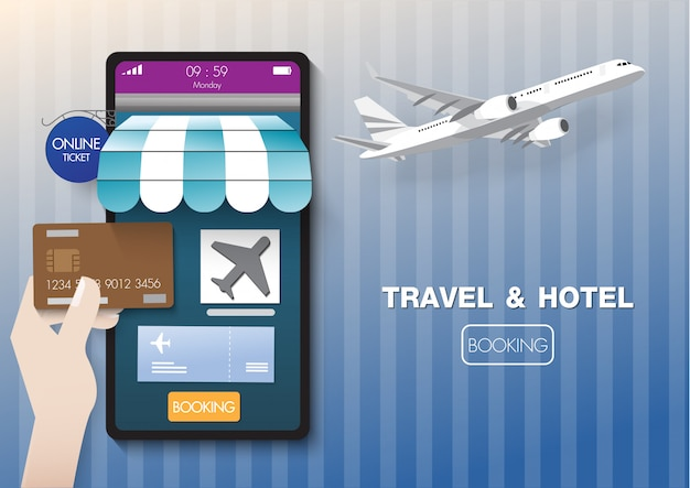 Booking airline & hotel online on mobile by credit card