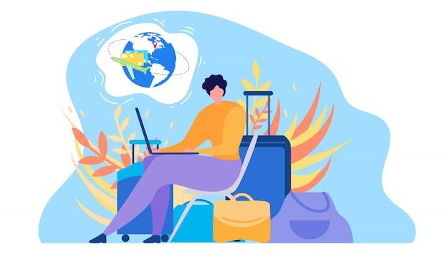 Бронирование авиабилетов онлайн плоский вектор концепция