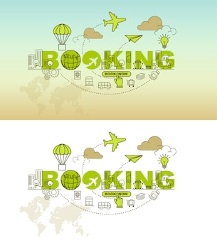 Booking banner background design concept