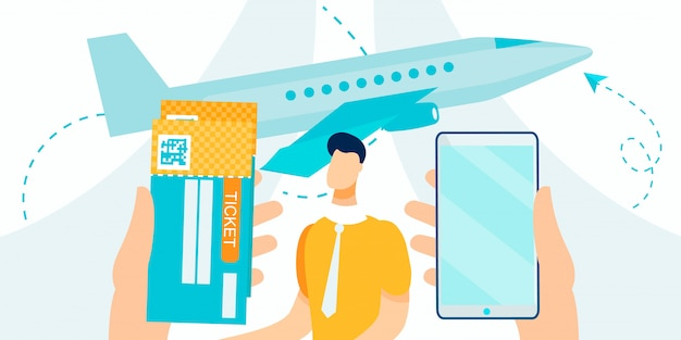 Booking and buying airline tickets service cartoon