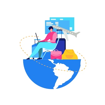 Booking flight tickets online flat vector concept