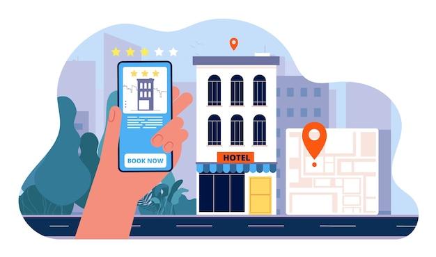ホテルのコンセプトを予約します。人々はスマートフォンからホテルを注文し、休暇のフラット写真に行きます