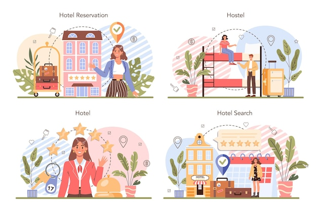 Booking a hotel concept set traveling and tourism planning booking apartment