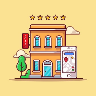 Booking hotel online cartoon  icon illustration. business technology icon concept