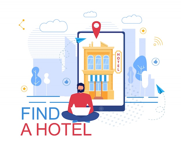 Booking hotel online service advertising poster