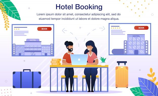 Booking hotel room online flat banner
