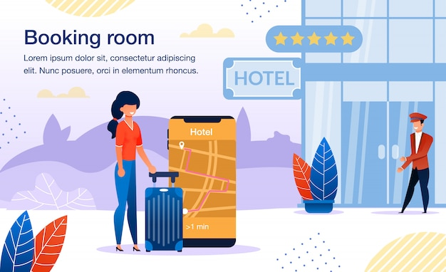Booking hotel with cellphone app banner