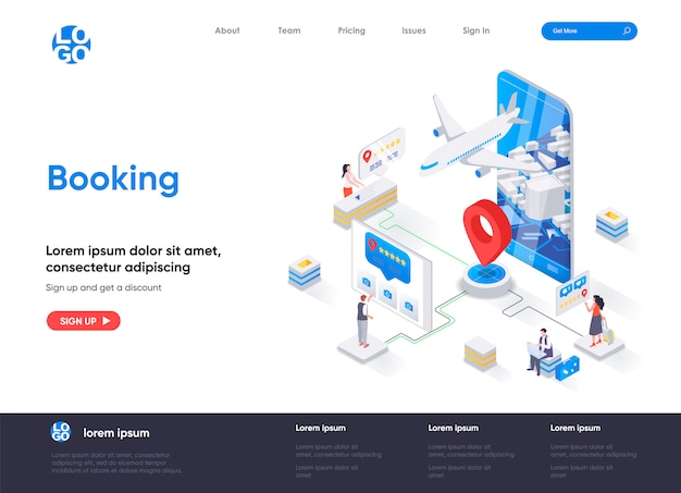 Booking isometric landing page template