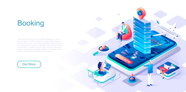 Booking isometric landing page vector template.