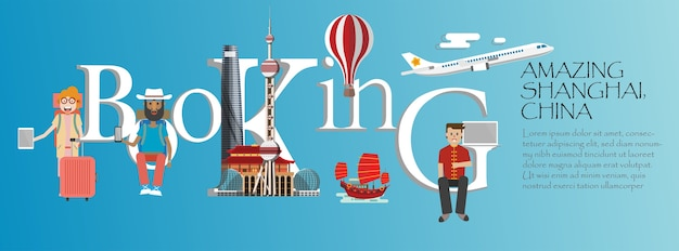 Booking  lettering and famous china landmarks .