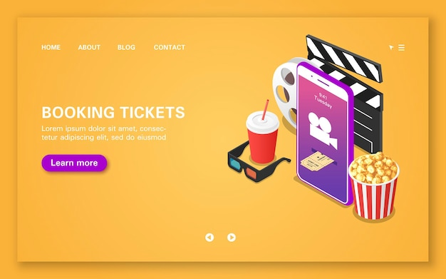 Booking movie tickets using a mobile application. booking tickets landing page