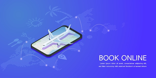Booking online concept summer holiday vacation. vector illustration.