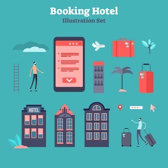 Booking online flat tiny person  elements collection
