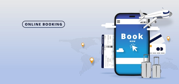 Booking online flights travel or ticket .online hotel reservation mobile app. world background.  illustration