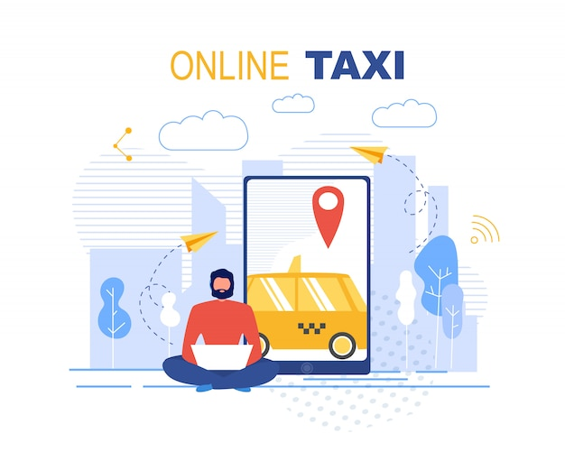 Booking online taxi service application ad banner