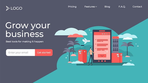 Booking online tiny person vector illustration landing page template design