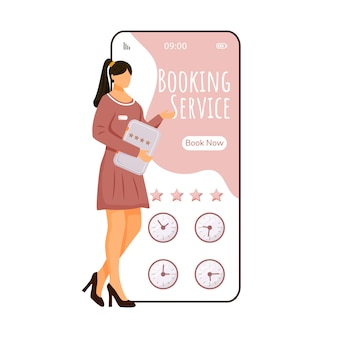 Booking service cartoon smartphone app screen. mobile phone display with flat manager character design . room reservation. hotel rating application telephone interface