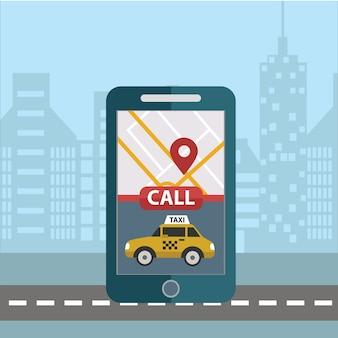 予約タクシーのオンラインコンセプトデザイン。ビッグスマートフォンとアプリでタクシーを携帯アプリで注文し、オンラインで支払いする