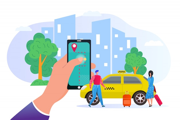 Booking taxi online via mobile application in phone   illustration. city skyscrapers, passengers and car service, yellow cab transportation. smartphone app to order taxi online.