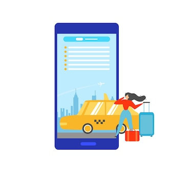 Booking taxi online with mobile app vector concept