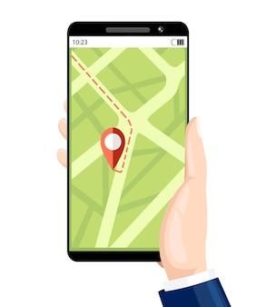 택시 서비스 예약. 내비게이션 서비스. 디스플레이에 모바일 앱이있는 손을 잡고 스마트 폰. . 흰색 배경에 그림입니다.