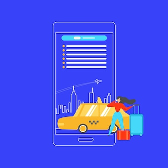 Booking taxi with mobile phone flat vector concept