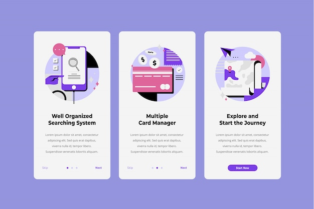 Booking ticket onboarding screen template