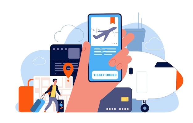 チケットの予約。飛行機予約オンライン注文便サービスコンセプト画像。