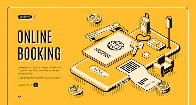 Booking tickets, reserving hotel room online service isometric vector web banner