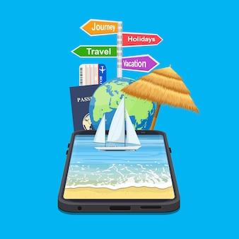 モバイルデバイスを介して旅行を予約します。