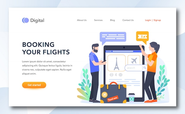 Booking your flights landing page template