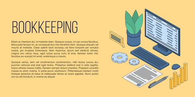 Bookkeeping concept banner, isometric style