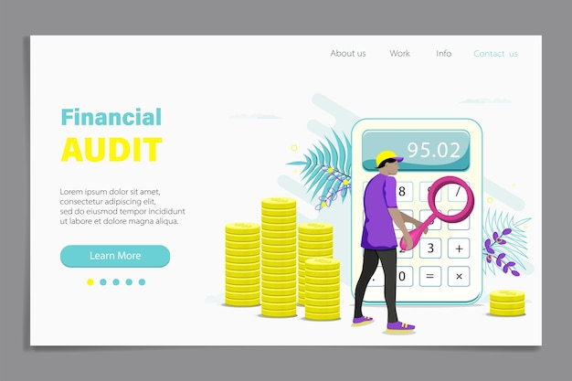 Bookkeeping web banner, homepage design with men auditor, accountant with magnifier during examination of financial report. money calculation, cash counting. flat illustration.