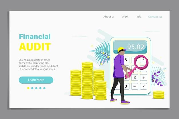부기 웹 배너, 남성 감사관이 있는 홈페이지 디자인, 재무 보고서를 검토하는 동안 돋보기가 있는 회계사. 돈 계산, 현금 계산. 평면 그림입니다.