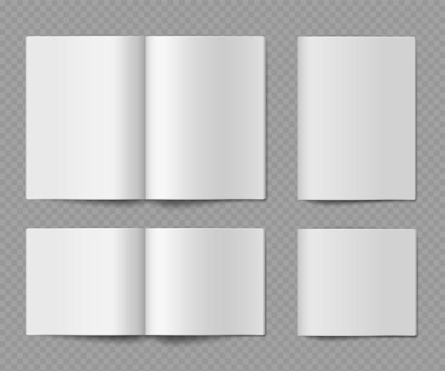 小冊子のモックアップ。開いて閉じた水平の空の紙のパンフレット、ジャーナルまたは折りカタログ、プレゼンテーションデザインの雑誌または本、透明な背景に分離されたリアルなベクトルセット