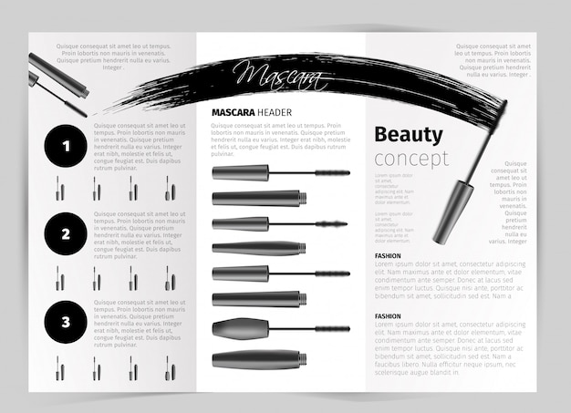 Booklet with realistic vector mascara objects