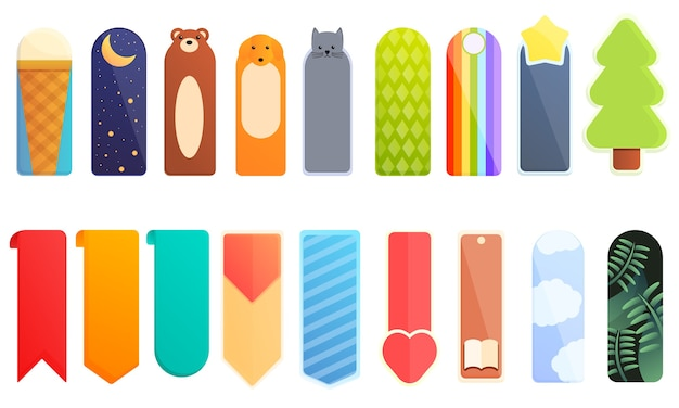 Bookmark icons set. cartoon set of bookmark  icons for web