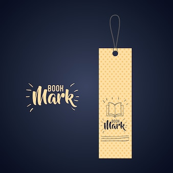 Bookmark label tag with book icon. Guidebook decoration reading and literature  theme. Colorful desi