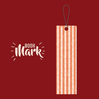 Bookmark label tag with branches icon. Guidebook decoration reading and literature  theme. Colorful