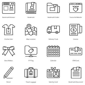 Bookmark line icons