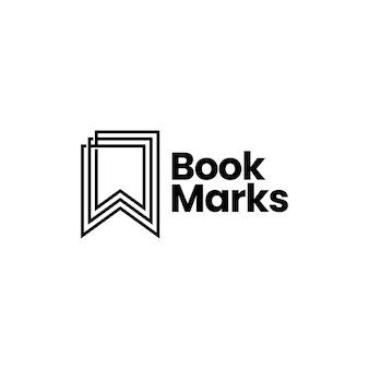 Bookmark line outline logo vector icon illustration