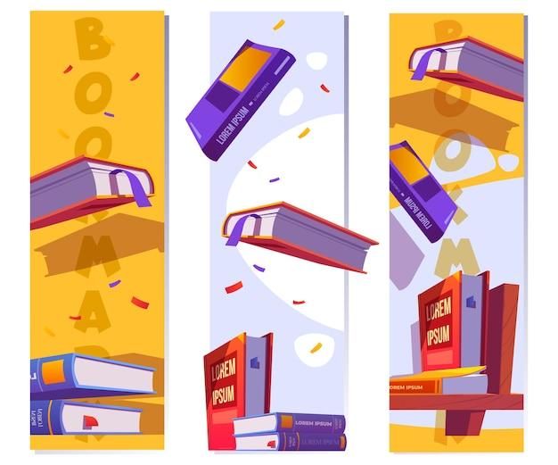 Шаблон закладки для чтения литературы в школе или библиотеке векторные вертикальные баннеры с мультяшным ...