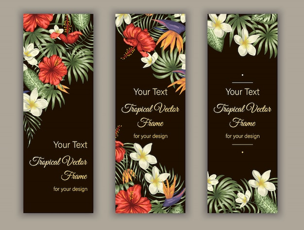 Bookmarks with green tropical leaves, plumeria, strelitzia and hibiscus flowers.