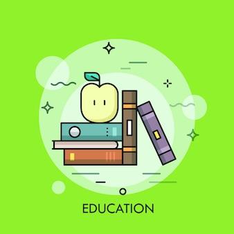 Книги и яблоко тонкая линия иллюстрации