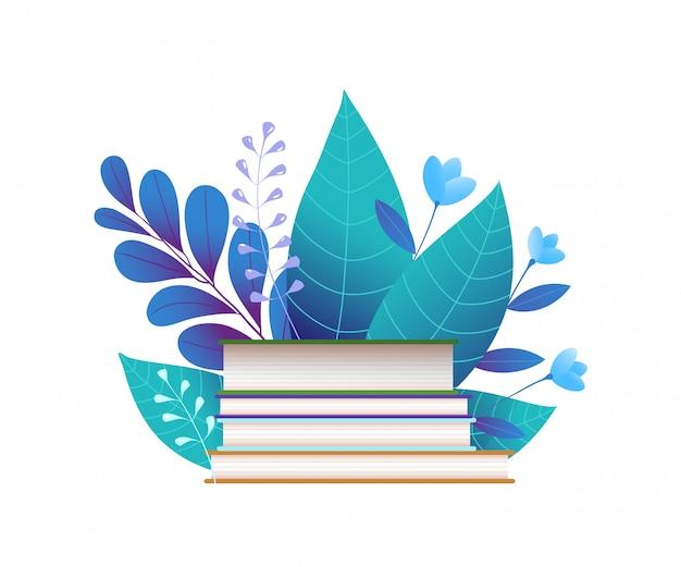 本と青い葉のフラット図
