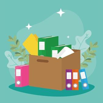 Книги и документы в ящике с бумагами