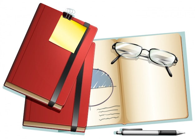 Книги и очки на нем