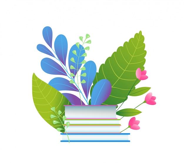 本と葉のフラットイラスト