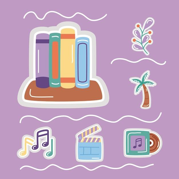 책 및 설정된 아이콘 스티커 평면 스타일 아이콘입니다.